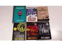 Books for sale: Maze runner trilogy, Paper Towns, me before you, Persepolis.
