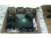 Original xbox with 3 games and 3 controllers