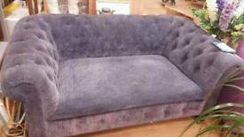Vintage chesterfield re upholstered and recently dyed a denim colour