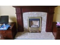Adams Style Mahogany Fireplace and Marble Hearth & Back
