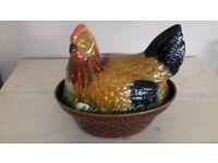 Pottery Crockery Chicken Hen Egg Basket (Storage, Dish, Holder)