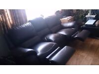 Brown leather 3 seater recliner sofa