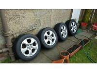 Jaguar 16 inch alloys wheels with tyers