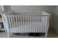 White sleigh cot bed with a NEW mattress