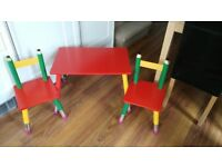 Colourful Pencil Design Toddler Desk and 2 Chairs