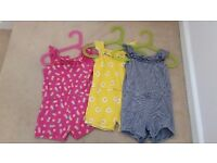 Mothercare girls summer bundle of three jumpsuits age 9-12 months