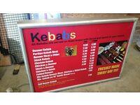 Electric illuminated box menu/shop sign
