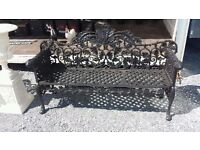 Large cast iron 4 seater garden bench