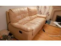 2 x 3 seater leather electric reclining sofas