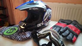 motorcycle helmet. Animal MX-417.MEDIUM with Mask and gloves & Bag