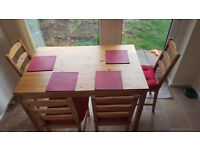 IKEA wooden table with 4 chairs