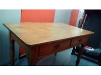Antique pine dining table with 2 drawers