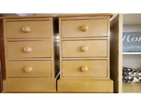 2 pine Bedside Drawers Painted In A Mustard Colour