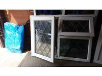 "USED DOUBLE GLAZED UPVC WINDOW LEADED LIGHT WITH OBSCURE GLASS 48"" WIDE X 35"" DROP"