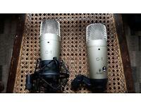 2x Behringer C1 studio mics with 1 anti shock mount.