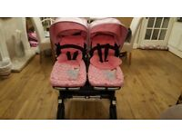 Bugaboo donkey duo with footmuffs and car seat