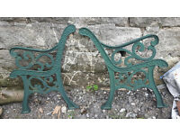 VICTORIAN CAST IRON BENCH AND CHAIR ENDS