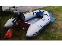 SEAGO 240, 3 birth inflatable boat and outboard motor and accessories