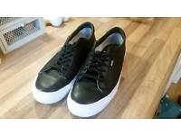 Vans leather trainers black/white size UK 10