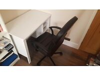 Like New assembled Ikea office desk and chair .Collection only