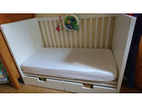 IKEA Stuva cot bed with 2 drawers, white