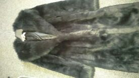 Black fake fur coat UK size 14
