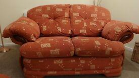 HARVEYS Furniture Terracotta & Gold Design Settee 3 seater & 2 Seater