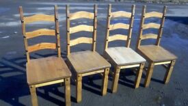 Mexican pine set of four ladder back dining chairs