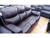3 Seater Recliner Real Genuine Leather Dark Brown Sofa Brand New