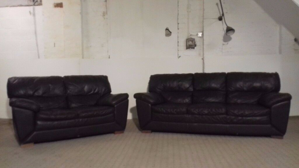 3 & 2 Dark Brown Leather Sofa - DELIVERY AVAILABLE