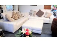 Large Natuzzi Leather Corner Sofa and Large Footstool - Can Deliver