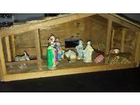 Handmade Nativity scene and stable