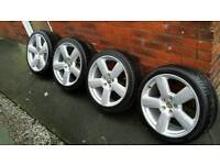 """VW 18"""" Alloy wheels and tyres."""
