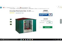 BRAND NEW ARROW APEX METAL GARDEN SHED 8 X6 FT