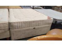 Double divan base and mattress set with drawer