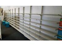 Large retail shop shelving units