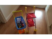 Peppa pig pushchair and chad valley trolley with toy shopping items