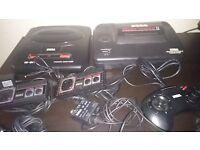Sega Mega Drive 2 and Master System 2 with games