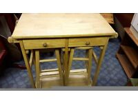 Kitchen Table with Stools in Solid Beech