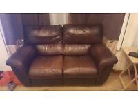 Leather sofa + armchair for sale £100 ONO. pick-up only