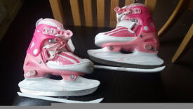 No Fear-Childs Adjustable ice skates in pink and white - sizes 12 to 2 - sharpened ready to skate