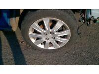 set of genuine alloy wheels+tyres to Honda Jazz Mk2 2002-2008