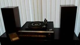 GEC vintage teak solid state record player turntable radio hi fi with speakers