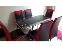 ITALIAN FAUX LEATHER DINING SET GLASS TABLE
