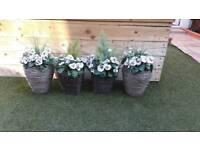 Set of 4 artificial garden plants