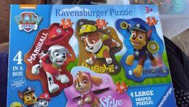 Paw Patrol 4 Large Shaped Jigsaws/Puzzles Marshall Rubble, Chase, Skye