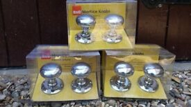 B&Q Polished Chrome Mortice Door Knobs (Brand new, 3 pairs available)