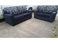LEXY BLACK/SILVER 3 SEATER £375 PLUS 2 SEATER FREE !!! BRAND NEW HAND MADE SOFA AMAZING QUALITY