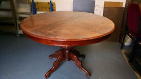 SOLID WOOD Large Round DINING TABLE - Beautifully Engraved !