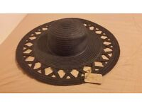 Navy cut out detail straw hat - NEW